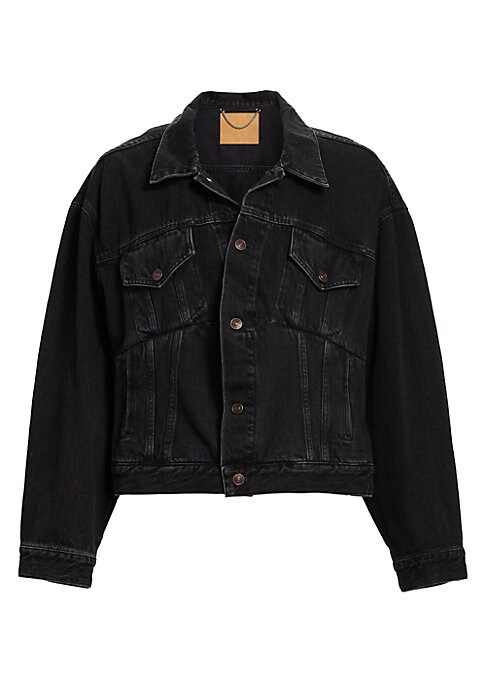 """Image of Jean jacket with an oversized look. Spread collar. Long sleeves. Button front. Waist welt pockets. Chest button flap pockets. Button cuffs. About 25"""" from shoulder to hem. Cotton. Machine wash. Made in Italy. Model shown is 5'10"""" (177cm) wearing US size 4"""