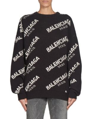 Ladies Black And White Boxy Logo-Print Wool-Blend Sweater