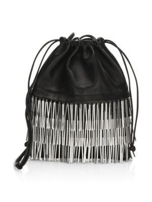 Ryan Mini Fringed Leather Dustbag, Black