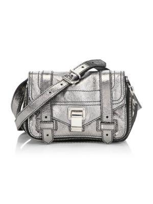 Mini Ps1 Metallic Leather Crossbody Bag - Metallic in Grey