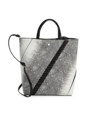Mini Hex Whipstitch Lizard & Leather Bucket Bag - Grey, Roccia/ Black