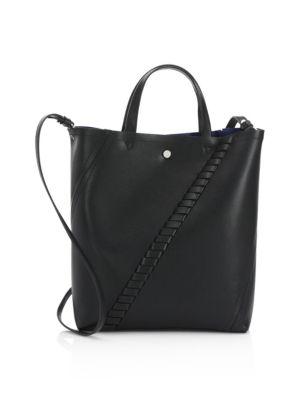Mini Hex Whipstitch Calfskin Leather Tote - Black