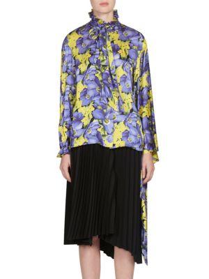 Poppy-Print Kimono Sleeve Blouse in Purple Multi