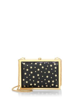 "Image of A star-studded evening bag. Chain shoulder strap, drop 11.75"".Hinge closure.14""W x 19""H x 4""D.Leather. Imported."