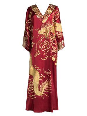 JOSIE NATORI COUTURE Dragon Silk Caftan in Imperial Red