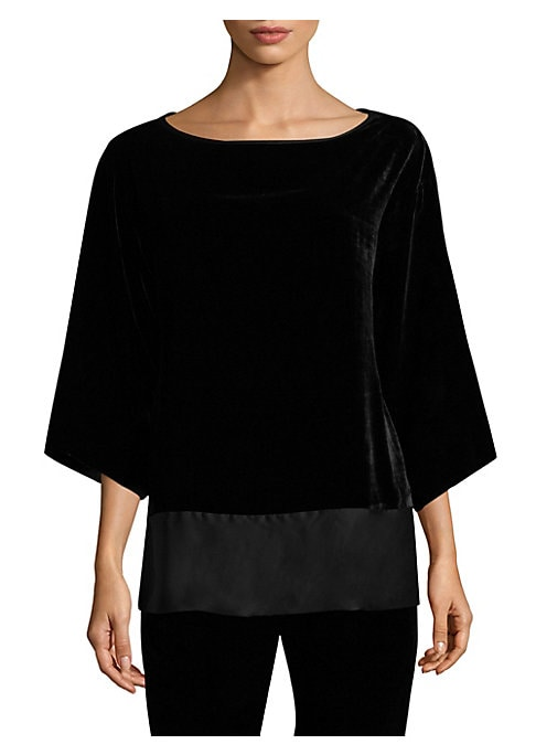"""Image of Classic bell-sleeve top in velvet finish. Boatneck. Three-quarter bell sleeves. Pullover style. About 27"""" from shoulder to hem. Rayon/silk. Dry clean. Imported. Model shown is 5'10"""" (177cm) wearing size Small."""