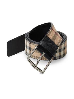 BURBERRY Men'S Joe Haymarket Check Belt, Black