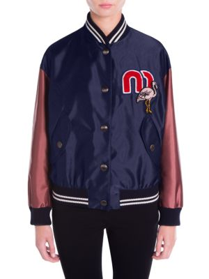 Flamingo-Embroidered Bicolor Bomber Jacket, Navy
