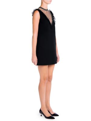 Sleeveless Crystal-Studded Cady Cocktail Dress in Black