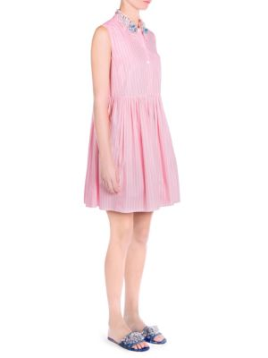 Embellished Striped Cotton-Poplin Mini Dress in Pink