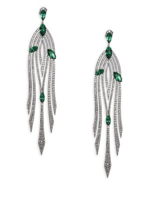 """Image of EXCLUSIVELY AT SAKS FIFTH AVENUE. Glistening cascading drop earrings with crystal stones. Crystal. Rhodium plated brass. Drop, 4"""" .Post back. Imported. ."""