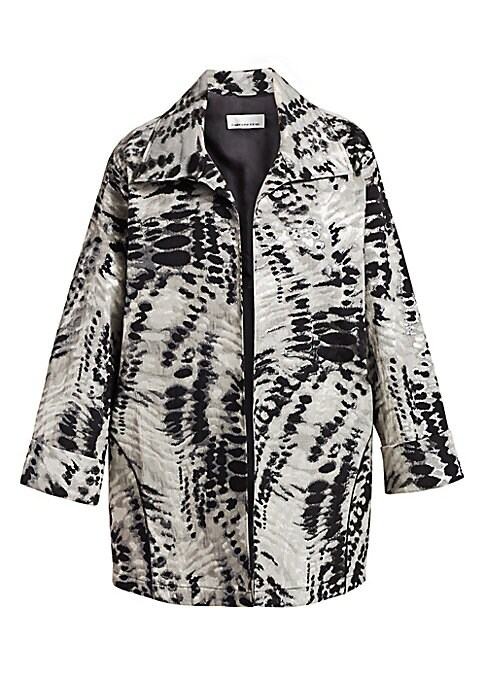 """Image of Animal print open-front jacket. Spread collar. Open front. Long sleeves. Fold-over cuffs. About 32"""" from shoulder to hem. Polyester/cotton. Dry clean. Made in USA."""