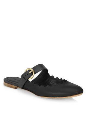 Lauren Flat Leather Mary Jane Slide, Black