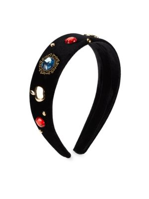 Image of EXCLUSIVELY AT SAKS FIFTH AVENUE. Velvet headband with stone embellishments. Velvet. Imported.