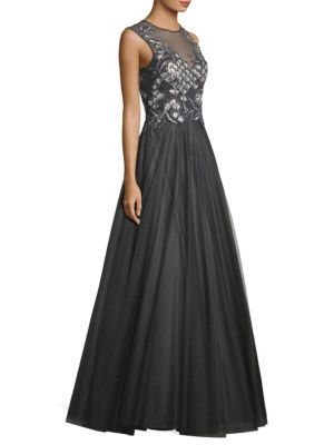 "Image of Embellished mesh ball gown with sequin detailing. Illusion neckline. Sleeveless. Concealed back zip. About 62"" from shoulder to hem. Polyester. Dry clean. Imported. Model shown is 5'10"" (177cm) wearing US size 4."