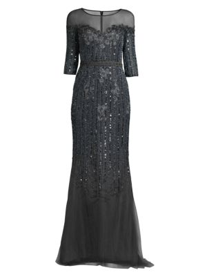BASIX BLACK LABEL Mesh Embellished Gown in Charcoal