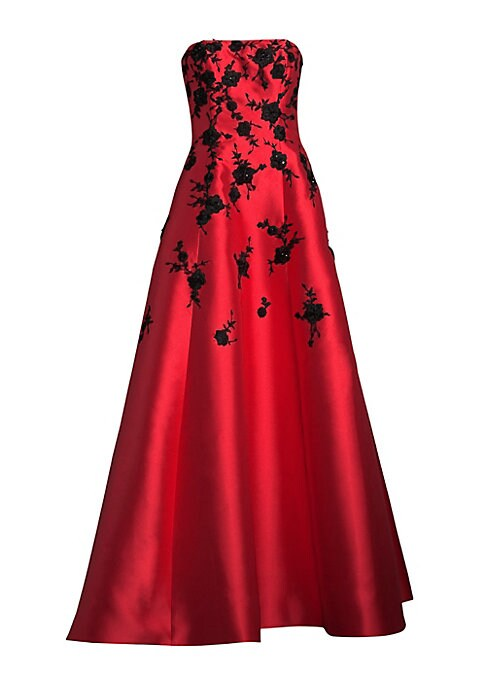 """Image of Elegant gown with floral appliques. Straight across neckline. Strapless. Concealed back zip. About 62"""" from top to hem. Polyester. Dry clean. Imported. Model shown is 5'10"""" (177cm) wearing US size 4."""