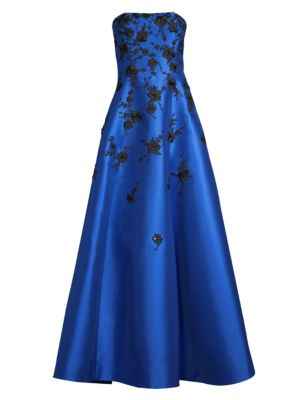 BASIX BLACK LABEL Strapless Floral Gown in Royal Blue
