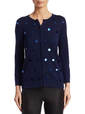 Collection Sequin Roundneck Cardigan, Navy