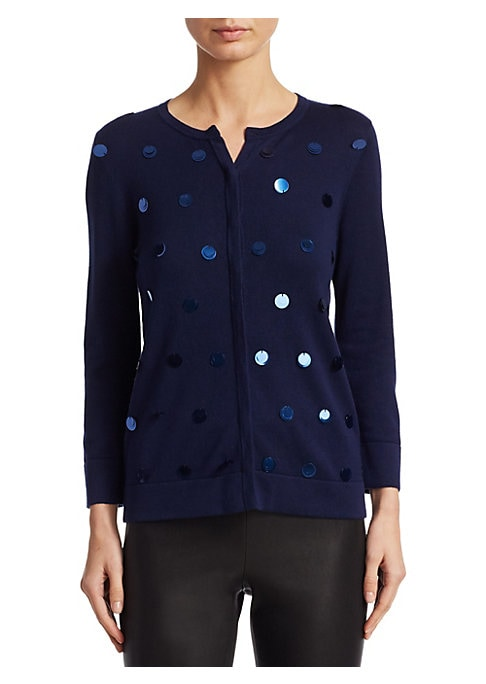 """Image of EXCLUSIVELY OURS. Attached pailettes add shimmer to slim cardigan. Roundneck. Long sleeves. Button front. Slim-fit. About 23"""" from shoulder to hem. Silk/cashmere. Dry clean. Imported. Model shown is 5'10"""" (177cm) wearing size Small."""