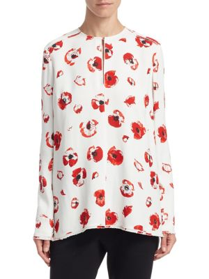 Silk Floral-Print Top in White