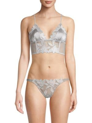c075693f8976e Fleur Du Mal Lily Longline Bralette - Light Gray Size L In Grey ...