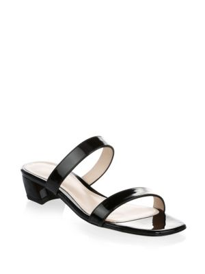 05b260adf38c Stuart Weitzman Women S Ava Patent Leather Slide Sandals In Noir Gloss