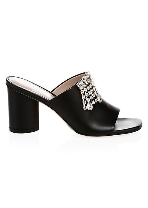 """Image of Cascading crystals add glam to versatile mules. Self-covered heel, 3"""" (76mm).Leather upper. Slip-on style. Open toe. Leather lining and sole. Imported."""