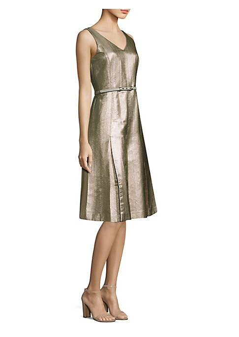"""Image of A-line cotton-blend dress finished with pleated skirt.V-neck. Sleeveless. Concealed back zip. Optional adjustable belted waist. About 41"""" from shoulder to hem. Cotton/acetate/polyester/polyamide/metallized polyester/other fibers. Dry clean. Imported. Mode"""