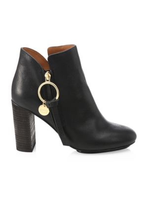 Louise Leather Booties, Black