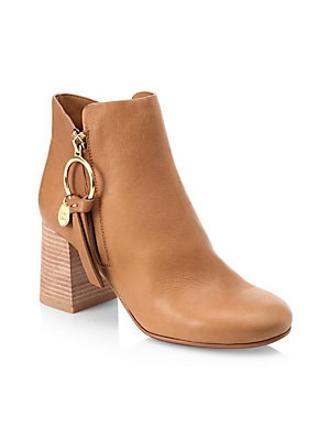 51b632e49cba See by Chloé - Janis Leather Booties - saks.com