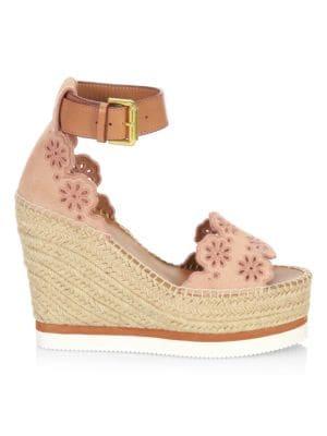 See By Chloe Cutout Suede Espadrille Platform Wedge Sandals, Beige Rose