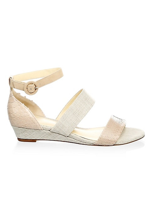 """Image of Ankle strap sandals with a textured design. Wedge heel, 1.25"""" (35mm).Python Breit, fabric and kid upper. Open toe. Adjustable ankle strap. Leather sole. Imported."""