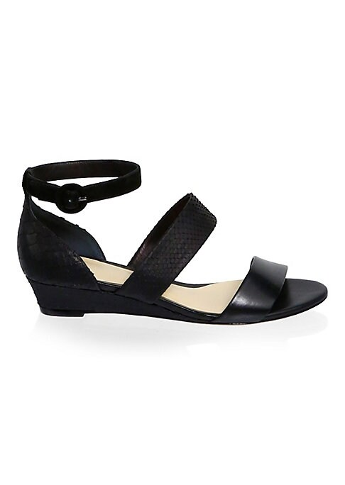 """Image of Chic leather platform sandals. Platform, 1.4""""(35mm).Python/leather/suede upper. Open toe. Adjustable buckle strap. Leather lining. Leather sole. Made in Italy."""