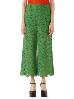 Flower Leaf Rebrode Lace Pants, Green
