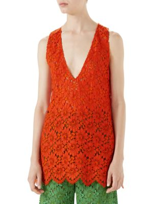 Floral-Lace Sleeveless Lace Top in Orange