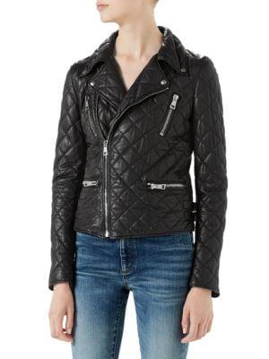 Quilted Napa Leather Biker Jacket, Black