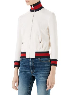 Long Sleeve Tech Gab Jersey Web Jacket by Gucci