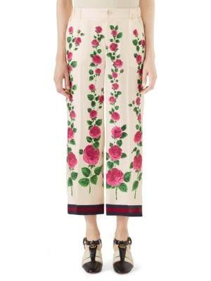Cropped Grosgrain-Trimmed Floral-Print Silk-Twill Wide-Leg Pants in Ecru