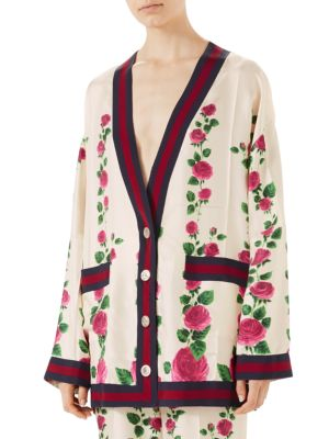 Grosgrain-Trimmed Floral-Print Silk-Satin Cardigan in Pink