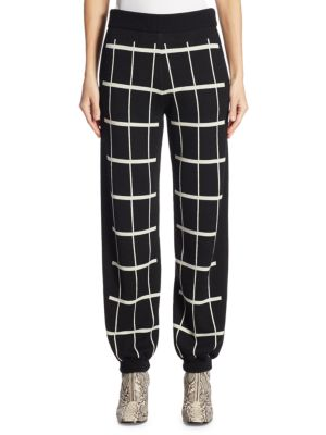 Checked Intarsia Wool-Blend Track Pants in Black