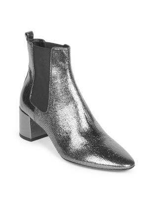 Lou Metallic Cracked-Leather Ankle Boots in Silver