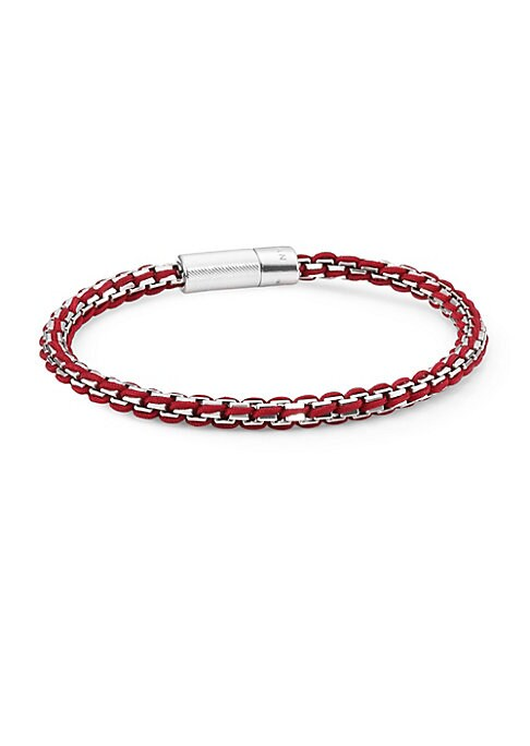 """Image of Bracelet with complex and intricate braiding of thread and sterling silver chain. Box chain with maze pattern. Silver. Leather. Rigato clasp closure. Diameter, about 7"""".Made in UK."""