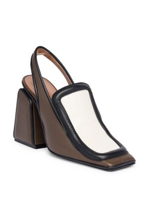 Padded Leather Slingback Pumps