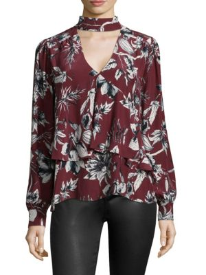 Image of Hamlet Floral Silk Choker Blouse