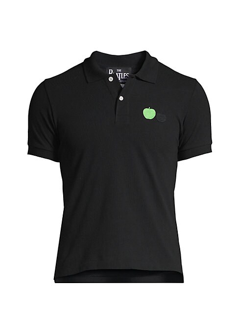 """Image of Cotton polo shirt with front apple embroidery. Spread collar. Short sleeves. Three-button placket. About 24"""" from shoulder to hem. Cotton. Machine wash. Imported."""