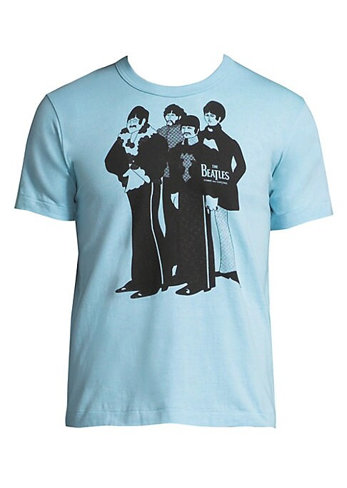 "Image of Cotton tee with front Beatles graphic. Crewneck. Short sleeves. Pullover style. About 24"" from shoulder to hem. Cotton. Machine wash. Made in USA."