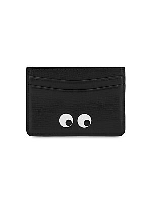 Image of Cheeky eye graphic adorns sleek metallic card case Two front card slots Two back card slots 4W x 2.75H Leather Made in Italy. Handbags - Advanced Designer Handba. Anya Hindmarch. Color: Black.