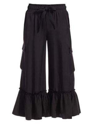 Tous Les Jours Prisilla Cupro Ruffle-Hem Wide-Leg Culottes, Olive in Black