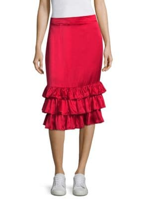 Billi Mac Ruffled Silk-Satin Skirt, Cherry Red